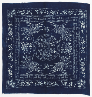 Square cloth of heavy cotton in indigo blue with rice paste resist design in white. A circle in the center frames two butterflies; corner design of flower clusters, fret border and outer border of bamboo and flowers.