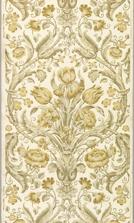 Enclosed within a diaper framework of acanthus foliage is a bouquet containing iris, tulip, rose and carnation flowers. The design is printed in a monochrome scale of tans with metallic gold highlights on an off-white satin or polished ground.