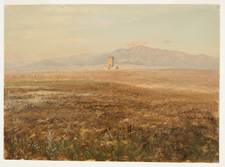View across a hilly plain toward a mountain range. A high mountain is shown in the left background. A grazing herd is shown in the left middle distance, a tower rising between a ruined wall in the central one.  Two more towers are shown further in the distance.