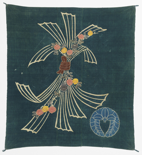 Square carrying cloth (furoshiki) with the design of a bundle of seaweed and a flowering branch in the center of a blue-green ground. Light blue crest in one corner. Three pieces of fabric sewn together, the outer two selvage to selvage widths, joined prior to dyeing. The linear pattern is achieved by a resist paste. Four corner reinforced by three rows of running stitches radiating from the corner. Two sides reinforced by double row of running stitches. Top and bottoms hemmed. Small tassel at each corner.