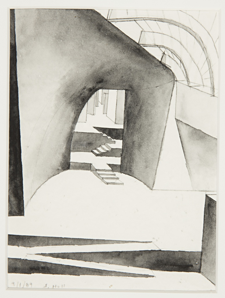 Vertical format illustration for fantastical architectural interior. Uneven diagonal steps in the foreground, a large curved wall at middle ground with a pointed seam, arched curving beams above. An irregularly shaped doorway that is rounded at left and straight at right. Through the doorway, a view into a further hall with irregular groups of stairs and geometric walls.