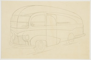 "On yellow ground, graphite line drawing of a design for a bus, the vehicle viewed in three-quarter profile facing the left. The automobile has a curved shape with diagonal-sloping stripes at the side; chrome bumpers at front and rear. The front tires exposed under the wheel well, the rear tires hidden under the body. A large grille at front, two round headlights at left and right. Windshield composed of four panels of glass, with a vertical and horizontal seam joining them. View through windshield of steering wheel. ""J. L. Hudson"" inscribed in graphite along the side of the vehicle. Indications of diagonal grounding lines below tires."