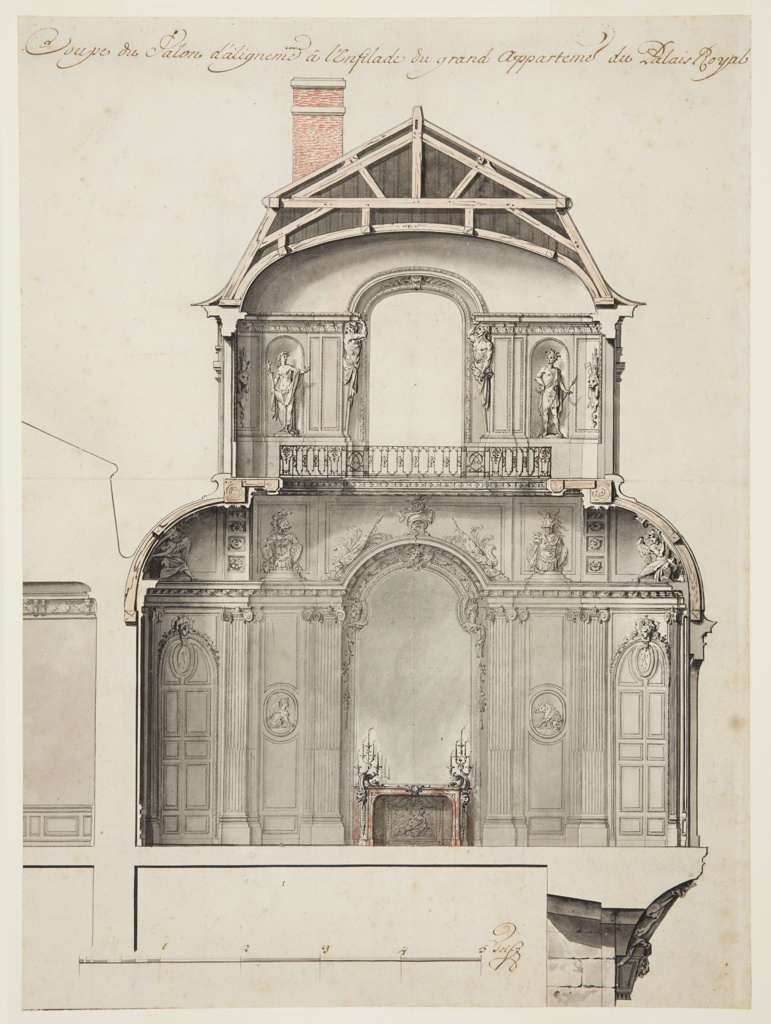 Drawing, Preliminary Design for the Salon d'Angle at the Palais Royal, Paris, France