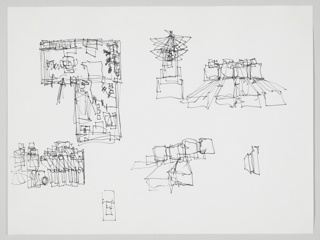 Horizontal format architectural drawing with an L-shaped plan view at upper left and several sketchy views of architectural elements throughout.