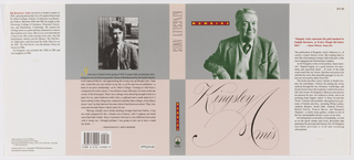 "Book jacket design for ""Memoirs."" Across front and back cover, a band of silver-gray at top and a band of pale pink at bottom; the colors reversed at the spine. At front cover, a photoillustration portrait of author Kingsley Amis at top printed in green tones. At upper right, a red rectangular text box with yellow printed text. Below, on pink ground, ""Kingsley Amis"" in scrolling text. At spine, the title and the author printed in similar style, the publisher's name and colophon (logo) at bottom. At back cover, black and white photoillustration of the author as a younger man at top, printed text excerpt from the book below."