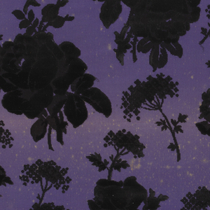 Purple taffeta ground with an allover design of rose sprays and Queen Anne's Lace in black and uncut velvet.