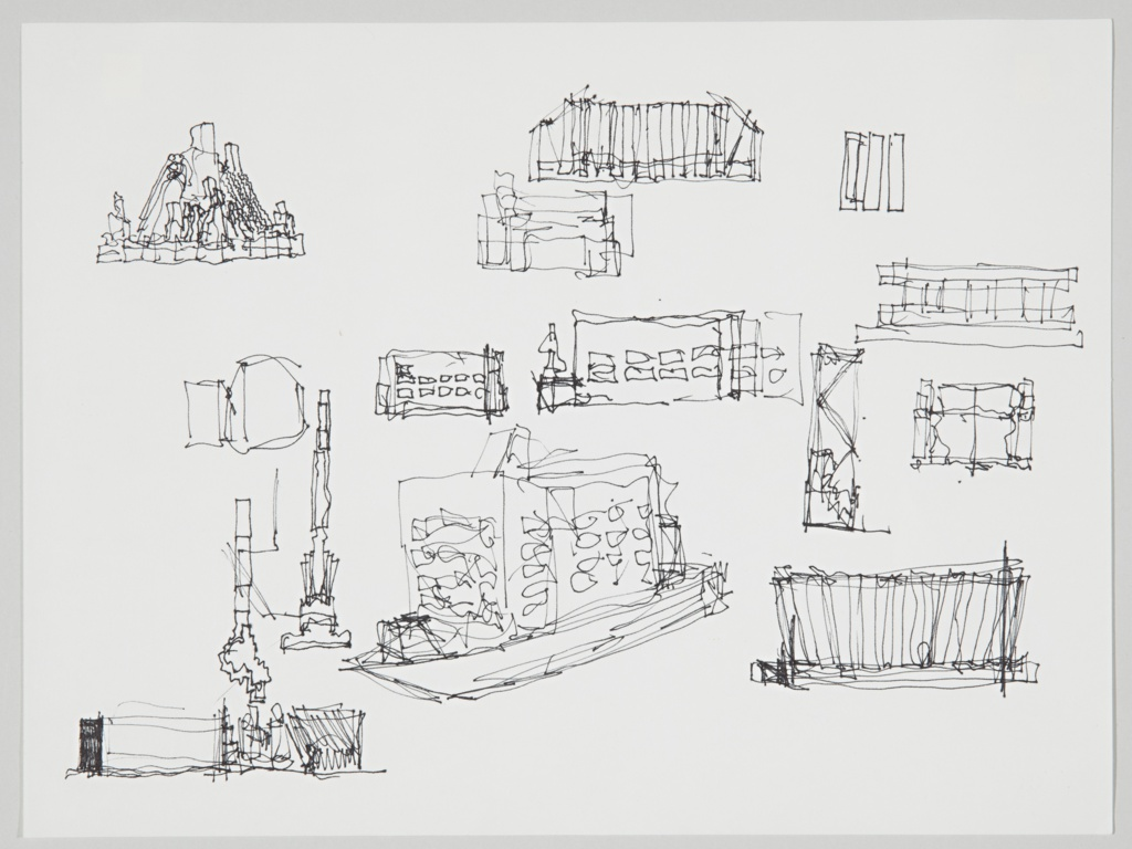 Horizontal format architectural drawing with several varied sketches, most in rectangular forms. At upper left, a three-dimensional pyramidal structure. At lower center, a rectangular box-shaped building with many windows and a projecting chimney.