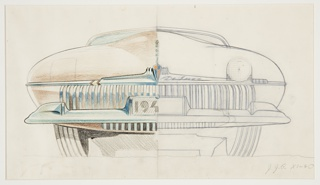 "Automobile design showing the hood concept for a DeSoto automobile, a division of Chrysler Corporation. Drawing divided vertically in half, the right side of the car rendered in graphite, the left side accented with color and shading in color pencil. Rounded, bulbous hood curving up to a gentle rounded slope at center. DeSoto marque in the form of a shield below, mounted on a curving chrome accent, the word ""Deluxe"" written in script to the right. At left and right, indications for headlights show the lights open and closed--the rounded square closed at left, the circular light open at right. Below, a space for license plate inscribed with the numbers ""194""; rows of vertical grilles surround at left and right. Large chrome bumper with black grille details towards center. View shows some indication of car's undercarriage. Jagged horizontal grounding line below."
