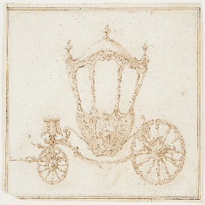 Horizontal rectangle. Sketch of a carosse.  At left is the front of the coach with a small wheel.  Above it sits a coachman's seat with a cushion, hammer cloth with a scalloped edge, tassels, and fringe.  At center is an oblong shaped body of the carriage with a large central window and smaller ones on either side. Highly ornamented decoration; two half figures of women support the upper edges of the carriage roof at left and right. Rectilinear framing lines.