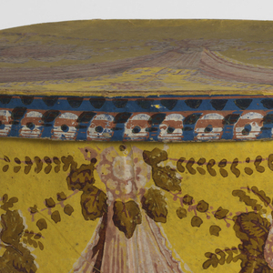 Conventional design of flowers and drapery festoons in pink, olive and white on yellow field.