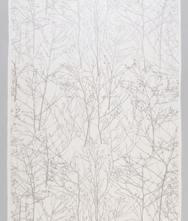 Design of white sheer, bare trees on an opaque white ground.