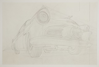 "Design for DeSoto automobile concept, a division of Chrysler, the car shown in three-quarter view from the front. Large projecting dagmar bumpers at center with two protruding headlights at right and left sides, each encased in a conical surround. At the center of the truck, the name ""DESOTO"" partially visible with the company's marque below."