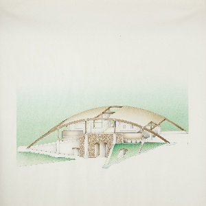Design for a building with long curving brown roof; openings at the center above a central court and at the sides, with curved metal pillars supporting the roof's frame. Building is largely open to the elements with a brown stone facade at the lower level, a large arched doorway at its center, triangular columns at either side. At the right, an entrance into a lower level appears to be built into the hill surrounding the architecture, its opening projecting out at an angle. Indications of stairways and windows into walled rooms above, a surrounding green landscape.