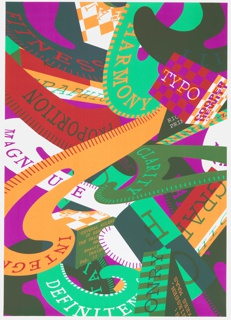 Multicolored poster design featuring an array of layered, overlapping geometric volumes in the form of rectangular prisms, cubes, cylinders, and curving ribbon-like shapes. Each plane rendered in a different bright, flat color or in a checkered pattern of two colors; most feature printed text in typewriter-style font.