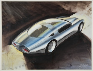Design for an automobile concept. A rounded sports car body in silver chrome shown in three-quarter view from the back. Windshield and passenger windows consist of one unified curving piece of glass; a second large curving glass pane makes up the rear windshield. The rear of the car curves to a flat edge shaped like an oval with two long red oval tail lights. The hood of the car has a point at center and points above each of the front two wheels. Car is placed in a surreal smoky cement landscape.