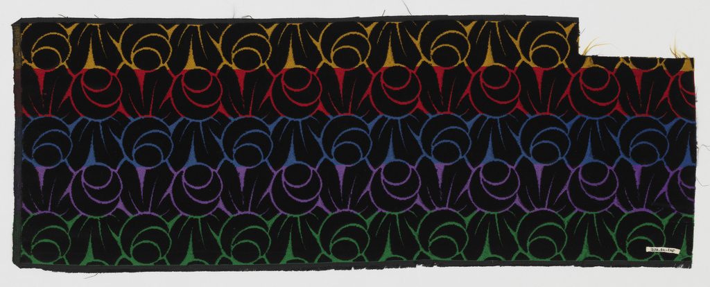 Sample of horizontal stripes showing five different colorways with a black velvet design of highly conventionalized round roses on a twill foundation formed by secondary silk weft.