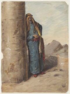 Vertical drawing of a bedouin leaning against a column.  A lower part of a column is at right.  View of Mountains.