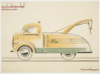 Design for a Ford tractor trailor; agricultural, farming, construction machinery. Viewed in profile, the yellow automobile has the profile of a truck, with a downward curving truckbed topped with chrome metal railing. Green accents at bottom with large chrome bumper at rear; green and red horizontal accents across driver's door. From truckbed, a large yellow pulley with metal hook and chain extends for towing. Large headlight above the truck cabin, additional lights at the front on either side of a large grille. Whitewall tires. Ford Motor Company logo in green script at front and along side. Black horizontal grounding lines. Short horizontal red lines at upper left and lower right.