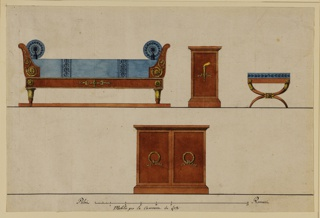 Horizontal rectangle. Sheet showing a series of related furniture designs. Top row, at left, a bed shown from the front; a bed-table, with a burning torch in front, center; and a chair at right. Bottom row: a low case with two door wings, each with a wreath in front. Base lines and scale at bottom.