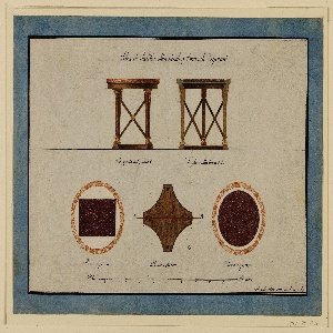 Sheet of designs for a table divided horizontally into two parts.  At the upper part, an elevation (left) and section (right) of a table with four legs, connected by crossed laths.  Round wooden top frame with round marble top. Inscription below each elevation and section. At the lower part, there are three renderings: a marble top, round, with inscribed rectangle (left); a plan of the wooden top frame with a red horizontal line with the letters A and B and a dotted circle around, C (center); a marble top with a circle in the frame (right);  there are captions below each drawing; the indication of scale is placed along the bottom of the sheet.  At the top of the sheet is another inscription. The sheet is signed at the lower right corner.