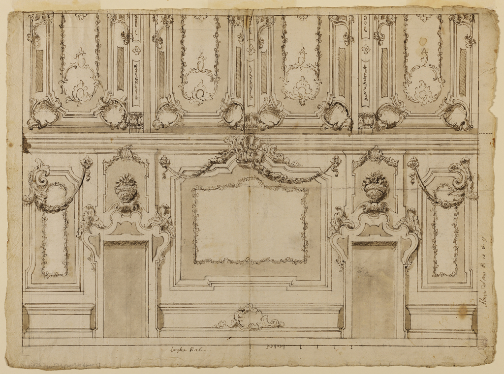 Upper divided into four panels, each within its own frame. Below, two doors with overdoor decorations in the form of floral baskets. Between them, a blank panel topped with alternative designs for festoons.