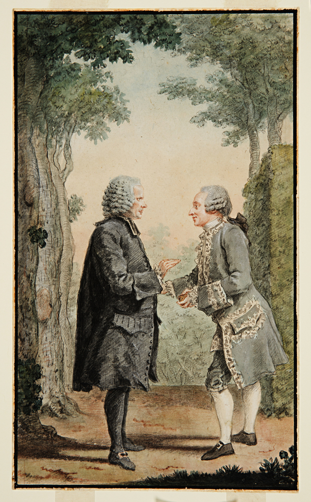 Two men conversing (gentleman at left wearing a black cleric's coat; gentleman at right in embroidered gray waistcoat) on a tree-lined path in a park.  Clipped hedge is in right background.  Image is bordered by a black line.