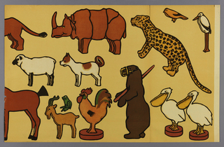 Children's frieze, containing various animals, including dog, sheep, goat, pelican, rhinoceros and leopard. Printed in colors on a tan ground. The paper can be installed as is forming a frieze or the animals can be cut out and pasted on the wall or pinned to a fabric wallcovering.
