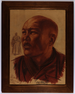 A more than life-size bust-length portrait of a Chinese figure turned toward the left, in three-quarter view. A sketch of the full figure at left.