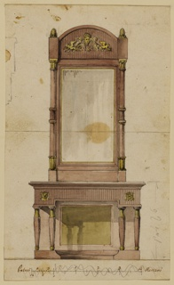 Vertical rectangle. Intended to be executed in wood with ornaments of gilded metal. Below is a console table with four legs and a backboard. The oblong mirror glass is framed outside by two columns, in a pseudo-Egyptian style as are the legs. Above is a mask with rinceaux and winged lions in front of the panel.  At the left edge is a part of a pencil plan. Verso: vertically, a childish profile.