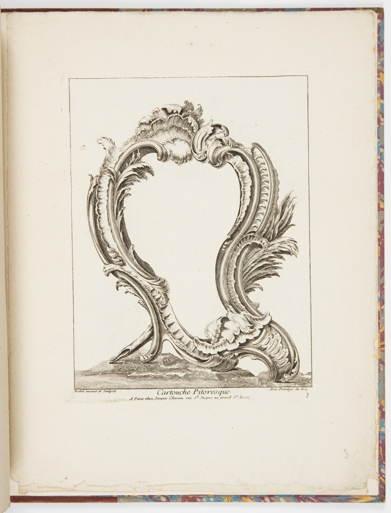 Plate 3 of a series of 4 cartouche ornament designs. Asymmetric cartouche in Rococo style, placed on a ground with hills, with lower left part of a read.