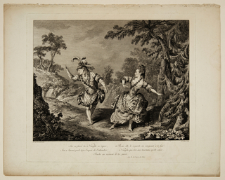 "Horizontal rectangle. The figures of the actor Louis Bercher, called ""Dauberval"" (1728-1803) and the actress Marie Allard (1742-1802) are seen in a wooded landscape in the act of doing a ballet dance. The scene is Act II of the opera ""Sylvie"" by P. M. Bertoux Trial. Five lines of verse from the opera in lower margin."