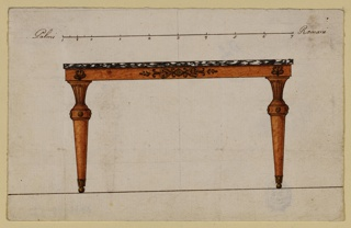 Horizontal rectangle. Design for a console table with marble top. Two round legs with a basket capital above each. Above the capitals are palmettes in the table frame, which is decorated in the middle by an elaborate motif. At top, a scale in pen and ink.