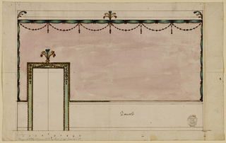 "At left, a door frame with a feathered overdoor crest. The decoration of the wall consists of a dado labelled ""Zoccolo"", and of a rose colored wall. Below the entablature is green cloth knotted and hung with beaded festoons. At center a feathered crest. Scale below."