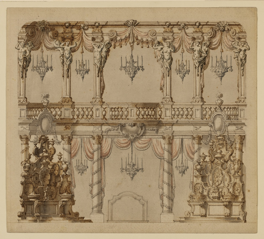 Theater design for a dining room of a lower floor and balcony. Lower floor contains 4 ornate corinthain columns with drapes hanging between them, 2 sculptures on either side, a chandelier and a fireplace. Balcony contains columns with caryatids, hanging drapes, and 5 chandeliers.