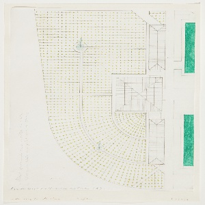 Architectural landscape design for the West Field at the Minneapolis Sculpture Garden. At right, squares and rectangles indicate the Cowles Conservatory designed by Edward Larrabee Barnes. To the left, geometric forms with curving left edges indicate sections of the field--each shape is filled with rows of evenly spaced light-green dots arranged on a grid. At upper left and lower right of field design, two blue circles with spouts of water indicate fountains. Graphite inscriptions at left edge, lower left, and lower right.