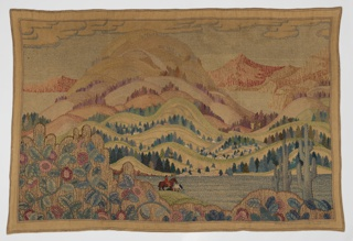 Embroidered picture with a scene from the American West showing a low hill with flowers on a vine and cacti. In the middle ground are two horses with riders before a lake leading to hills sparsely covered with evergreens and several clusters of houses which lead to a lake on the extreme left and right. In the background are distant mountain peaks under a grey sky with clouds. Picture is framed by foundation fabric. Colors are predominantly muted purple, orange-red, muted blue-green, tan and gray.