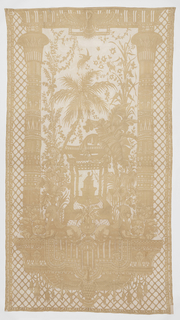 Large embroidered curtain panel with Egyptian-style motifs.