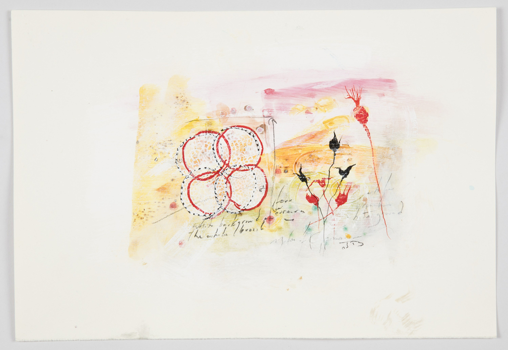 Jewelry design for a brooch intended to be executed in enamel. On white ground, abstract painterly composition in yellow, orange, red, and pink tones. At left, four overlapping red circles intertwined with four black and white striped circles below. At right, flower blossom forms resembling thistles in red and black.