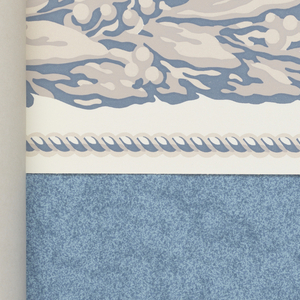 Soft, almost pastel ground colors with very delicate textural background patterns.  All the sidewall papers are shown with a matching or coordinating border design. Some also show border corners. Separate pages of sidewall and border papers at the end. These designs were inspired by mid 19th century copper plate engravings.