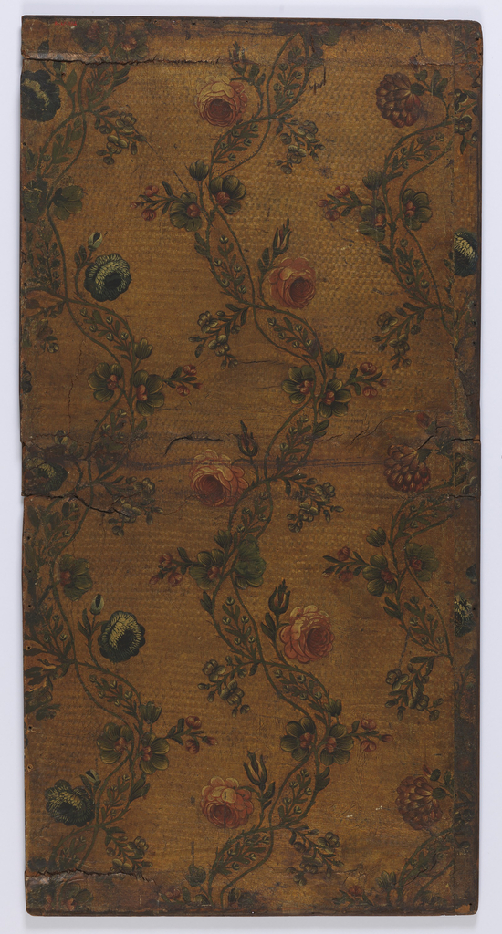 Vining floral design. Red flowers and blue flowers on vining intertwined stems. Painted on embossed ground.