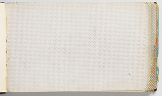 Horizontal rectangle with hard covers bound in glossy black paper dotted with white, showing an enlarged eye. Contains papers printed with white relief dots on colored ground.