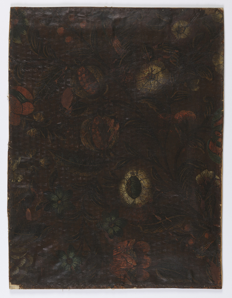 Pomegranates and floral design, fern-like foliage, painted on embossed ground.