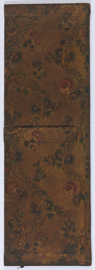 Vining floral pattern. Red flowers and blue flowers in intertwined vine. Painted in colors on embossed ground.