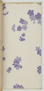 Book contains a selection of floral and textured patters, including Aubussan, Belgian Stripe, Bijou, Blossoms, Brocade, Brussels, Celeste, Chiffon Rose, Chippendale, Citron, Cluny Damask, Elegante, Flora, Katabami, Kensington Stripe, Kimona, Kujaku, Nasturtium Bed, Peking Silk, Pomegranate, Poppy, Revelry, Rose Leaf, Sheraton Stripe, Silk Stripe, Thai Tex, Trieste, Venetian and Zinnia. Each design appears in multiple colorways. All have been given a protective vinyl coating.