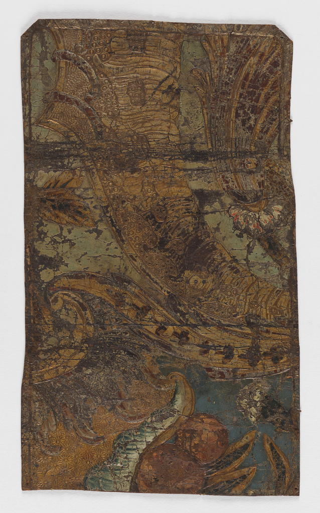 Fragment of stamped and embossed leather; varnished silver, light and dark blue, red, green and white paint; rococo motifs of fruit and flowers.