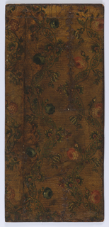 Vining floral design. Red flowers and blue flowers on intertwined vines. Painted on embossed surface.