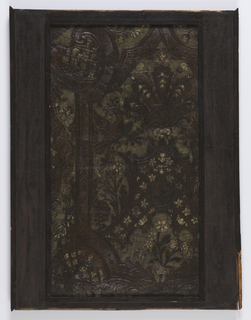 Smaller portion of a slightly larger panel, in varnished silver, blue and green. Cartouche framework with scrollwork, fruit, flowers, trellis work and confronted birds.