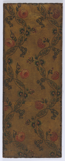 Vining floral pattern. Red and blue flowers on intertwined vine. Painted in colors on embossed ground.