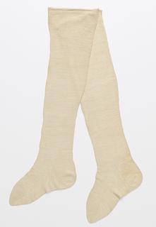 Pair of cream-colored handknit stockings.
