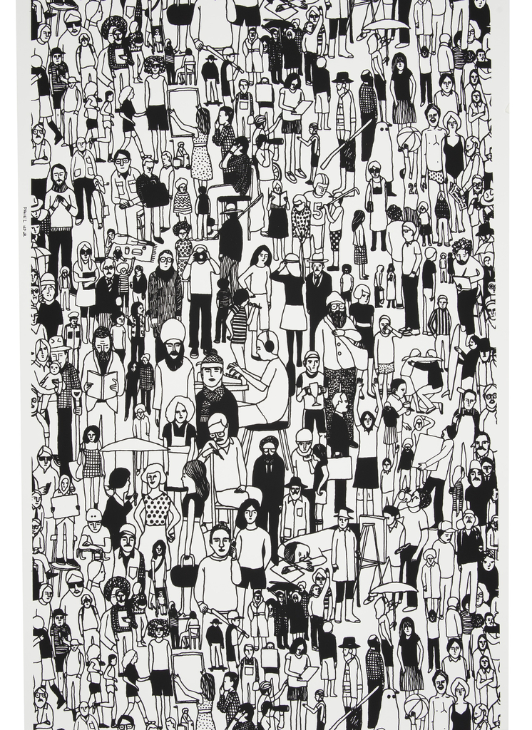 "Panel #2. A dense conglomeration of people, though less so than the first ""All of Us"" panel, creating an all-over textural pattern. This panel shows people involved in a greater range of activities, including seated and reclinging, as space allows. Printed in black on white ground."